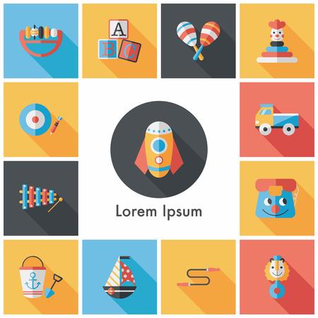 Children's toy icons set Vettoriali
