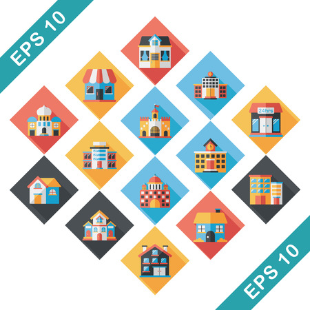 Building and store icons set