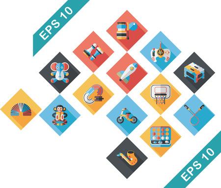 rubber ducks: Childrens toy icons set Illustration