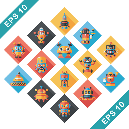 machine operator: robot and artificial intelligence icons set
