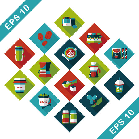 Coffee and tea icon set Illustration
