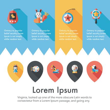 Childrens toy icons set Illustration