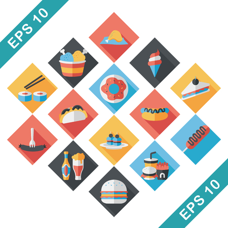 Fastfood and drinks icon set