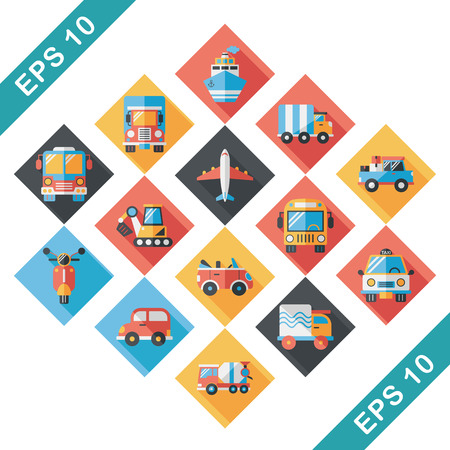 tractor trailer: Transportation and vehicle icons set
