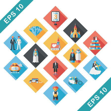 Wedding and marriage icons set