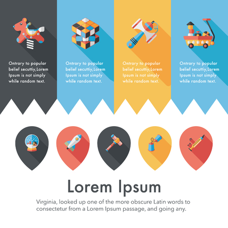 Childrens toy icons set Illustration