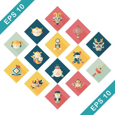 chinese new year dragon: Chinese new year icons set