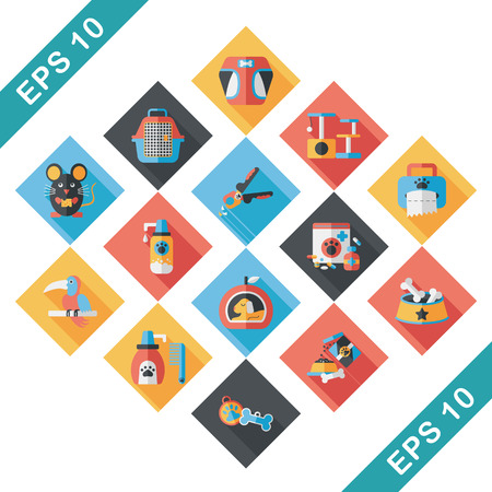 Pet and veterinary icons set Illustration