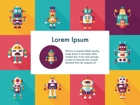 robot and artificial intelligence icons set