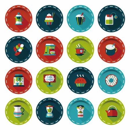 Coffee and tea icon set Illustration