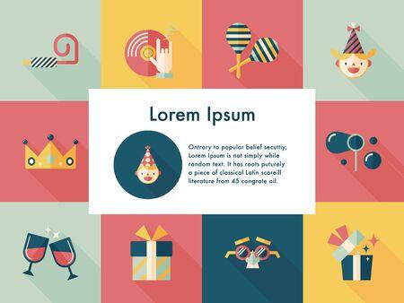 birthday celebration: Celebration and birthday icons set Illustration
