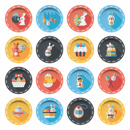Easter eggs and rabbit icons  set