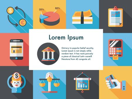 Financial and business icons set Illustration