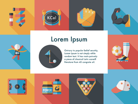 Sport and fitness icons set Illustration