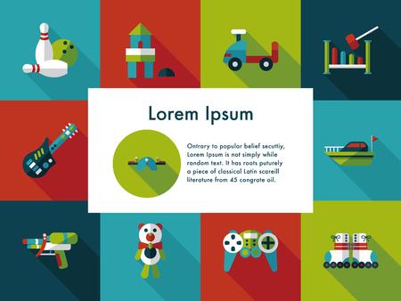 Children's toy icons set Illustration