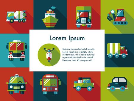 Transportation and vehicle icons set