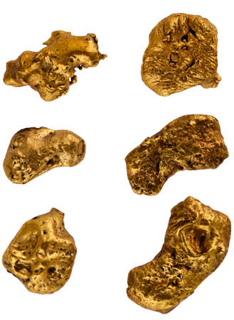 goldmine: Group gold nuggets on a white background