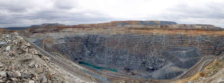 Mining in a career. Panorama multi-level career.
