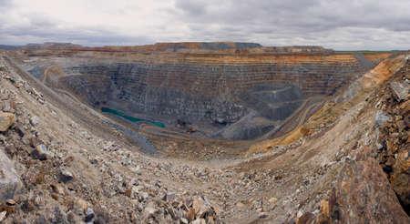 Mining in a career. Panorama multi-level career.