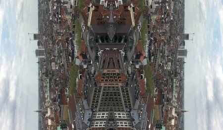 Mirrored view on Antwerpen city