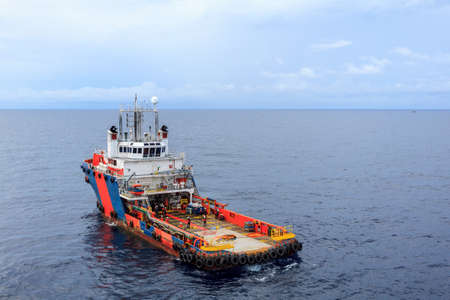 supply boat for offshore oil and gas approach to the platform and carry passenger  for transfer between supply boat and platform