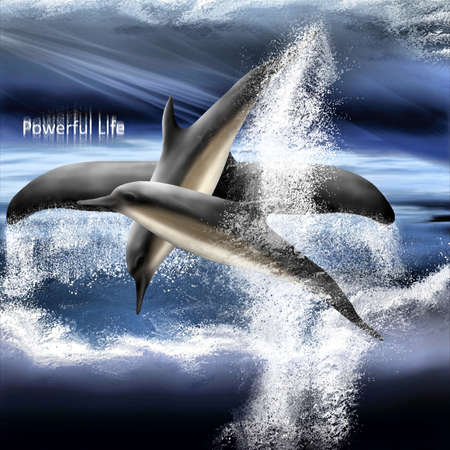Jumping Dance of Whales with text Stock fotó - 131726629