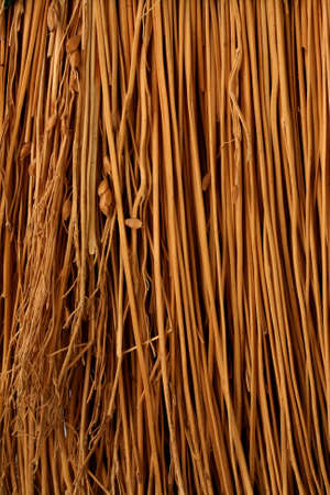 A closeup vertical image of tan broom material.