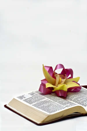 A vertical view of an Easter corsage on an open Bible with copy space  Stock Photo