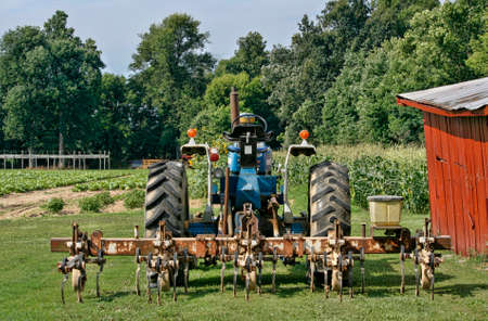 A tractor with attached cultivator ready to loosen the soil between the rows of young tobacco plants.  Soon the plants will be too tall for this device.