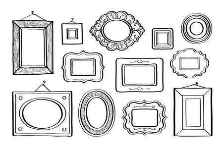 Vector set of vintage photo frames hand drawn doodle style antique ornamental and cute photo frames for decoration and design