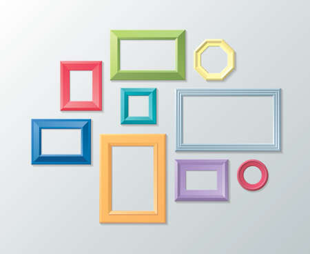 Vector set of photo frames on the wall