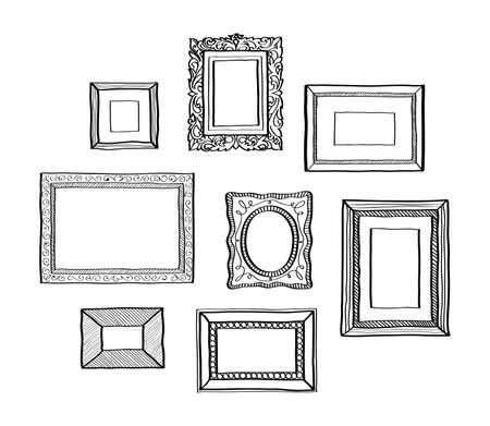 marcos cuadros: Vector conjunto de marcos de fotos de época de estilo garabato dibujado a mano antiguos marcos de fotos ornamentales y lindo para la decoración y diseño