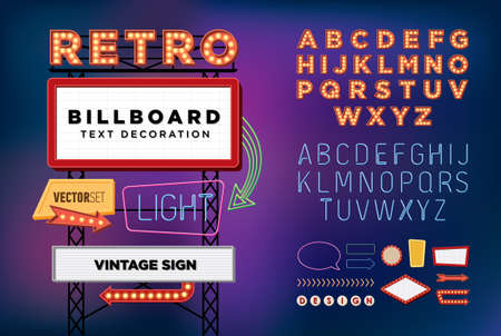 excitación: Conjunto de vectores de neón retro de la muestra del vintage letrero cartelera brillante bandera luz