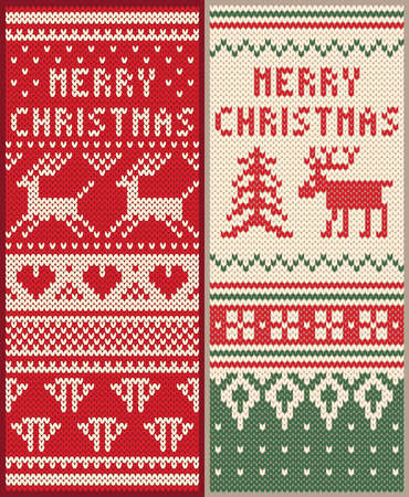 A set of Christmas card design knitted pattern with deer vector ornaments, sweater texture 일러스트