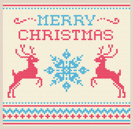 Christmas and Winter card Scandinavian style knitted pattern with deer and snowflakes ornament vector 일러스트