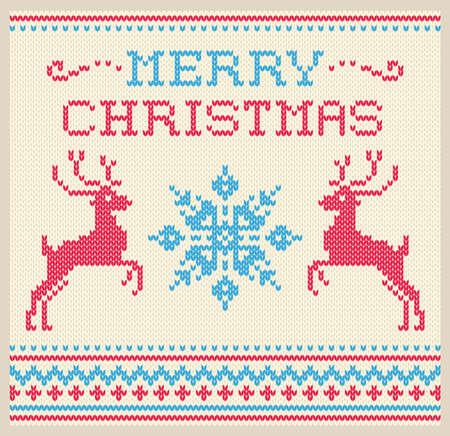 사슴과 눈송이 장식 벡터 크리스마스와 겨울 카드 스칸디나비아 스타일의 니트 패턴