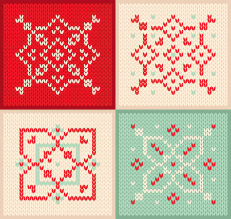 Christmas and Winter set knitted pattern with snowflakes scandinavian sweater texture