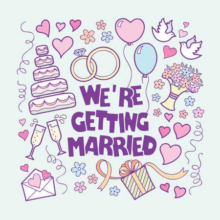 pareja de esposos: Estilo doodle vectorial Tarjeta de boda Vintage mano