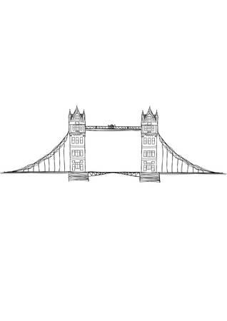 tower bridge: tower bridge drawing Illustration