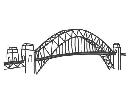 sydney: illustration of Sydney Harbour bridge, australia Illustration