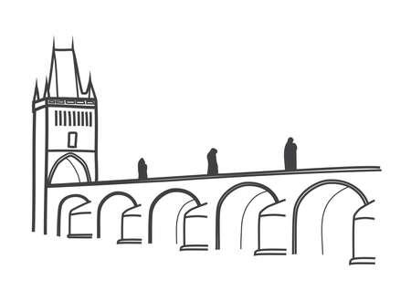 illustration of Charles Bridge, Prague, themost visited Prague sight Ilustracja