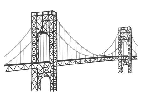 hudson river: simple drawing of historical george washington bridge in New York