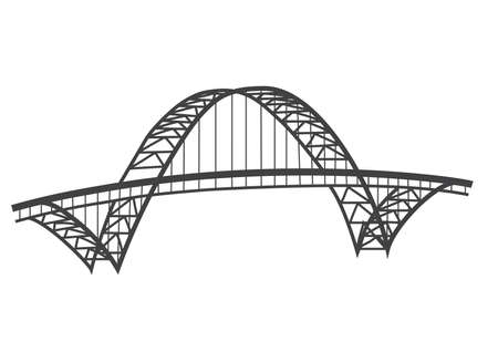 steel arch bridge: illustration of famous Fremont bridge, Portland, Oregon Illustration