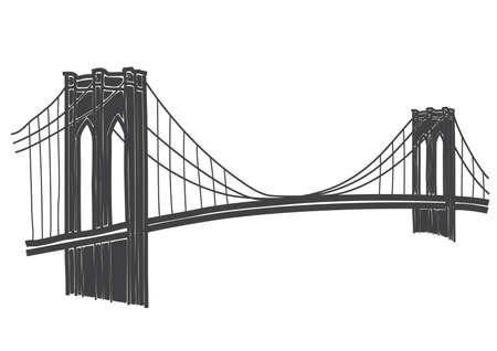 illustratie van de Brooklyn Bridge, New York Stock Illustratie
