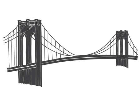 suspension bridge: illustration of brooklyn bridge, new york