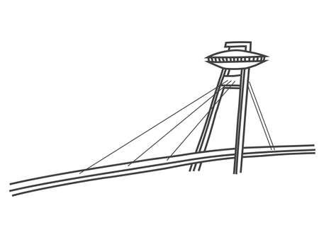 illustratie van een brug met een restaurant op de top Stock Illustratie