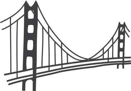 illustration of Golden Gate bridge, San Francisco Vector