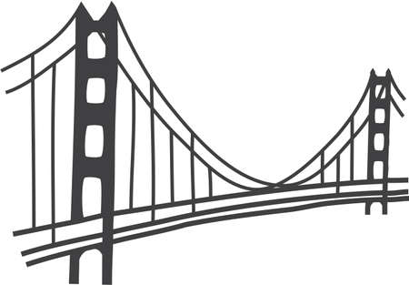 suspension bridge: illustration of Golden Gate bridge, San Francisco