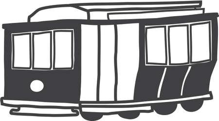 人気のある歴史的な San Francisco ケーブルカーのイラスト