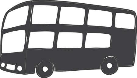 典型的な doubldecker のロンドンのバスの図面  イラスト・ベクター素材